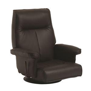 回転座椅子(フロアチェア/リクライニングチェア) 合成皮革/合皮 肘付き 『ラボンヌ』 ダークブラウン - 拡大画像