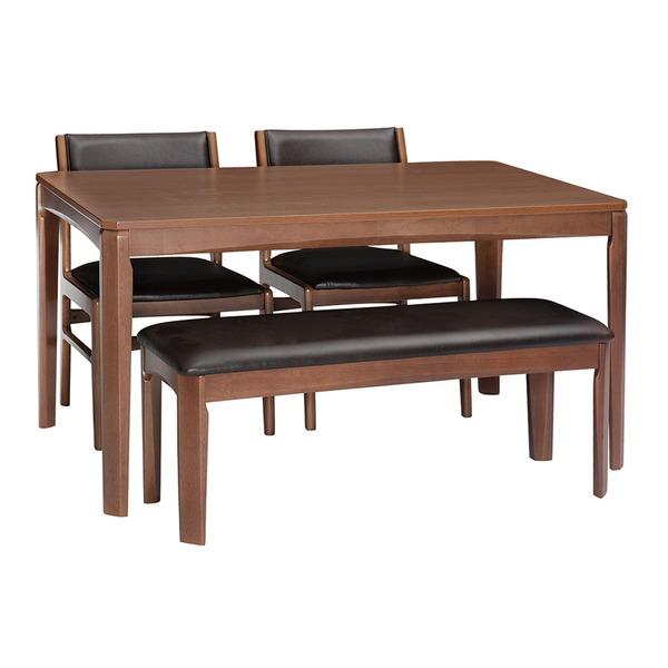 シンプル ダイニングテーブル 4人掛け 【ブラウン】 幅135cm 木製脚付き 〔リビング 居間 フローリング〕
