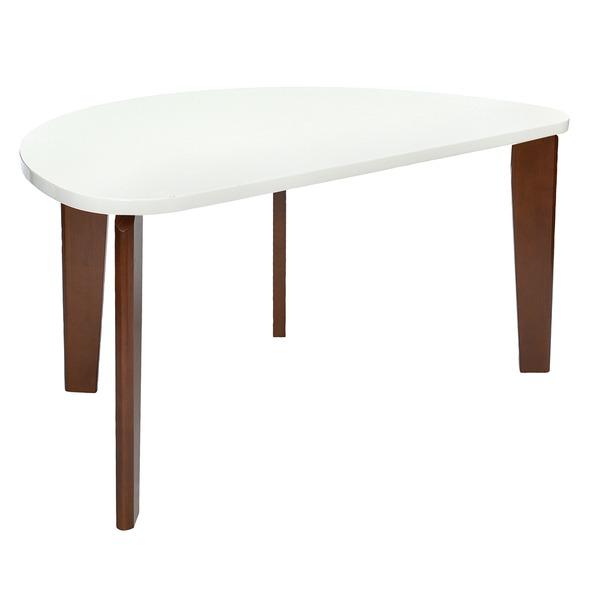 お部屋を広く見せる「モダン ダイニングテーブル 4人掛け 【半円型 幅150cm】 ホワイト 木製脚付き 『フェリス』 〔リビング 居間〕」