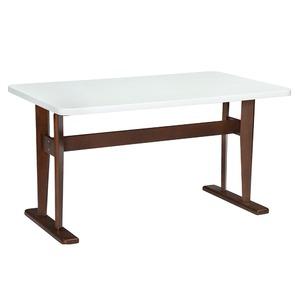 モダン ダイニングテーブル 4人掛け 【長方形 幅135cm】 ホワイト 木製脚付き 『フェリス』 〔リビング 居間〕