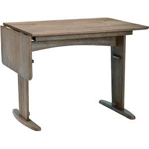 伸長式ダイニングテーブル 120cm幅 ラバーウッド材 4人掛け用 ミディアムブラウン 【組立品】 - 拡大画像