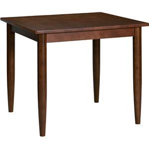 ダイニングテーブル 80cm幅 ラバーウッド材 2人掛け用 ブラウン 【組立品】 - 拡大画像
