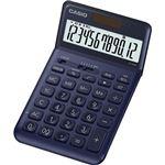(まとめ) カシオ デザイン電卓 12桁ジャストタイプ ネイビー JF-S200-NY-N 1台 【×5セット】