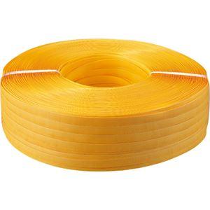 (まとめ) TANOSEE PPバンド 手締め用 15mm×1000m 黄色 1巻  【×5セット】