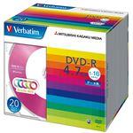 (まとめ) バーベイタム データ用DVD-R4.7GB 1-16倍速 5色カラーMIX 5mmスリムケース DHR47JM20V11パック(20枚:各色4枚)  【×10セット】