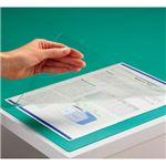 (まとめ) TANOSEE PVCデスクマット ダブル(下敷付) 600×450mm グリーン 1枚  【×10セット】