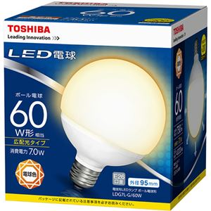 (まとめ) 東芝ライテック LED電球 ボール電球形60W形相当 7.0W E26 電球色 LDG7L-G/60W 1個 【×10セット】 - 拡大画像