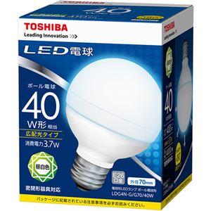 (まとめ) 東芝ライテック LED電球 ボール電球形40W形相当 3.7W E26 昼白色 LDG4N-G/G70/40W 1個 【×10セット】 - 拡大画像