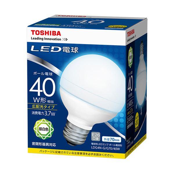 (まとめ) 東芝ライテック LED電球 ボール電球形40W形相当 3.7W E26 昼白色 LDG4N-G/G70/40W 1個 【×10セット】