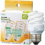 (まとめ) オーム電機 電球形蛍光灯 エコ電球 D形40形 電球色 EFD10EL/8-SPN-2P 1パック(2個) 【×10セット】