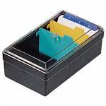(まとめ) ライオン事務器 名刺整理箱W102×D180×H70mm 500枚収容 黒 No.51 1個  【×10セット】