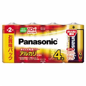 (まとめ) パナソニック アルカリ乾電池 単2形LR14XJ/4SW 1パック(4本) 【×30セット】 - 拡大画像