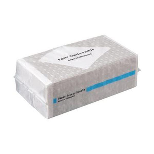 (まとめ)TANOSEE ペーパータオル 抗菌・ダブル(レギュラー)200組 1パック【×50セット】