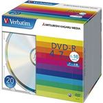 (まとめ)バーベイタム データ用DVD-R4.7GB 16倍速 ブランドシルバー 薄型ケース DHR47J20V1 1パック(20枚)【×10セット】
