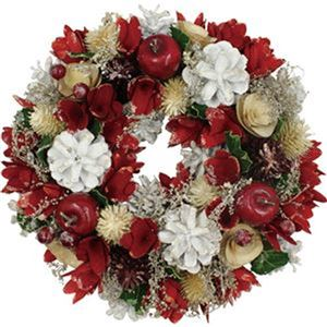 (まとめ)函館クリスマスファクトリーナチュラルローズ レッド 24cm 1個【×10セット】 - 拡大画像
