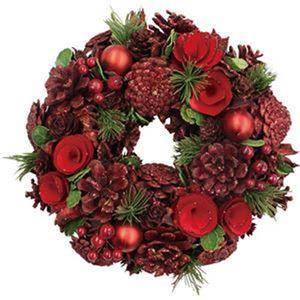 (まとめ)函館クリスマスファクトリーナチュラルローズ&ボールリース レッド 26cm 1個【×10セット】 - 拡大画像