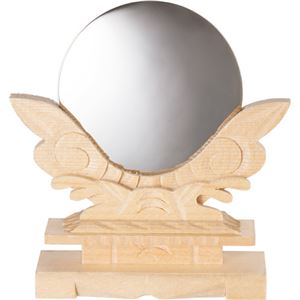 (まとめ)フィットポスト 神鏡 2.0寸 木製台付 1個 【×5セット】 - 拡大画像