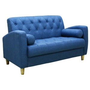 ソファー 【2人掛け】 ファブリック地 座面下収納 クッション/肘付き 北欧風 ブルー(青)の詳細を見る