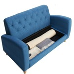 ソファー 【2人掛け】 ファブリック地 座面下収納 クッション/肘付き 北欧風 ブルー(青)