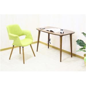【単品】 オーガニックチェア(リビングチェア/カフェチェア) ファブリック地/木製フレーム 肘付き 北欧風 グリーン(緑) - 拡大画像