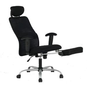 OAチェア(オフィスチェア/リクライニングチェア) オットマン/キャスター/肘付き メッシュ地 ブラック(黒) - 拡大画像