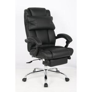 昇降式OAチェア(オフィスチェア/リクライニングチェア) 合成皮革/合皮 キャスター/肘付き ブラック(黒)