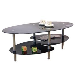 強化ガラステーブル(ローテーブル) 高さ43cm スチール脚 棚収納/アジャスター付き ブラック(黒) - 拡大画像
