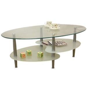 強化ガラステーブル(ローテーブル) 高さ43cm スチール脚 棚収納/アジャスター付き ホワイト(白) - 拡大画像