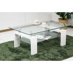 強化ガラステーブル/ローテーブル 【幅105cm】 高さ45cm 棚収納付き ホワイト(白)