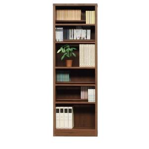 本棚/ブックシェルフ 【幅60cm】 高さ180cm 可動棚板8枚付き 木目調 日本製 ブラウン 【完成品】