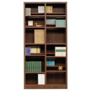 本棚/ブックシェルフ 【幅90cm】 高さ180cm 可動棚板16枚付き 木目調 日本製 ブラウン 【完成品】