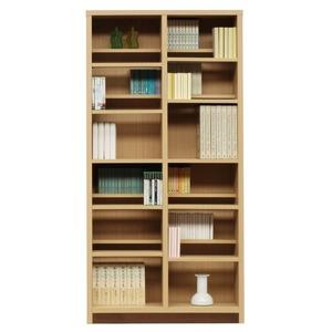 本棚/ブックシェルフ 【幅90cm】 高さ180cm 可動棚板16枚付き 木目調 日本製 ナチュラル 【完成品】