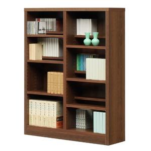 本棚/ブックシェルフ 【幅90cm】 高さ120cm 可動棚板12枚付き 木目調 日本製 ブラウン 【完成品】