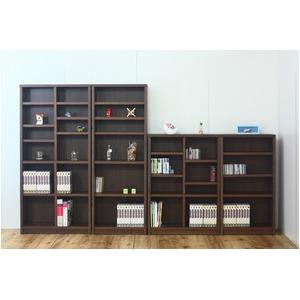 本棚/ブックシェルフ 【幅90cm】 高さ120cm 可動棚板4枚付き 木目調 日本製 ブラウン 【完成品】