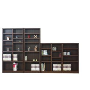 本棚/ブックシェルフ 【幅90cm】 ハイタイプ 高さ180cm 可動棚板8枚付き 木目調 日本製 ブラウン 【完成品】