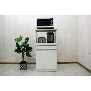 レンジ台(キッチン収納) 1型 幅60cm スライドレール/二口コンセント/米びつ付き 日本製 ホワイト(白) 【完成品】 - 拡大画像