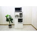 レンジ台(キッチン収納) 2型 幅60cm スライドレール/二口コンセント/米びつ付き 日本製 ホワイト(白) 【完成品】