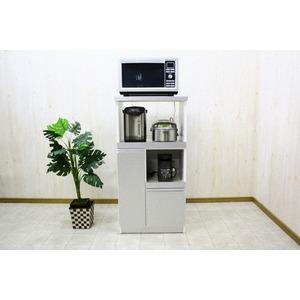 レンジ台(キッチン収納) 2型 幅60cm スライドレール/二口コンセント/米びつ付き 日本製 シルバー(銀) 【完成品】