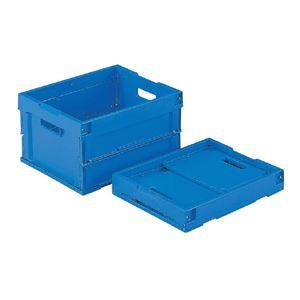 (業務用10個セット)三甲(サンコー) 折りたたみコンテナボックス/オリコン 【20L】 20B ブルー(青) 【フタ別売り】