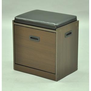 座れるシューズボックス/玄関椅子 【幅43cm】 ブラウン 座面高45.5cm 最大6足収納可
