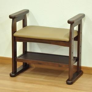 玄関スツール/腰掛け椅子 【幅58cm】 木製 ブラウン 座面高さ3段階調整可 肘掛付き クッション座面 - 拡大画像