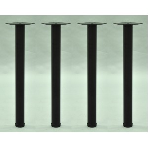 DIY用 テーブル脚【4本セット】 ブラック色 スチール製 (日曜大工 インテリア家具 什器)※脚のみ - 拡大画像
