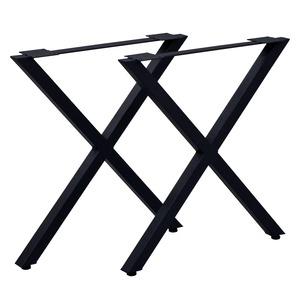 テーブルキッツ テーブル用脚【ハイタイプ X型 2本組 ブラック】 スチール製 アジャスター付 脚のみ - 拡大画像