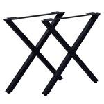 テーブルキッツ テーブル用脚【ハイタイプ X型 2本組 ブラック】 スチール製 アジャスター付 脚のみ