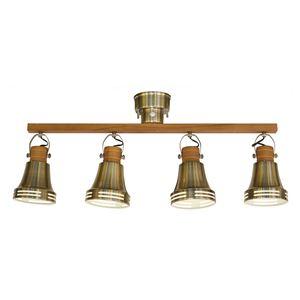シーリングライト/照明器具 【4灯】 スチール×天然木 ELUX(エルックス) Wood bell アンティークブラス 【電球別売】 - 拡大画像