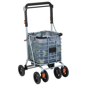 ツインワゴン/ショッピングカート 【保冷バッグ付き】 4輪 上段・下段仕分け可 大容量