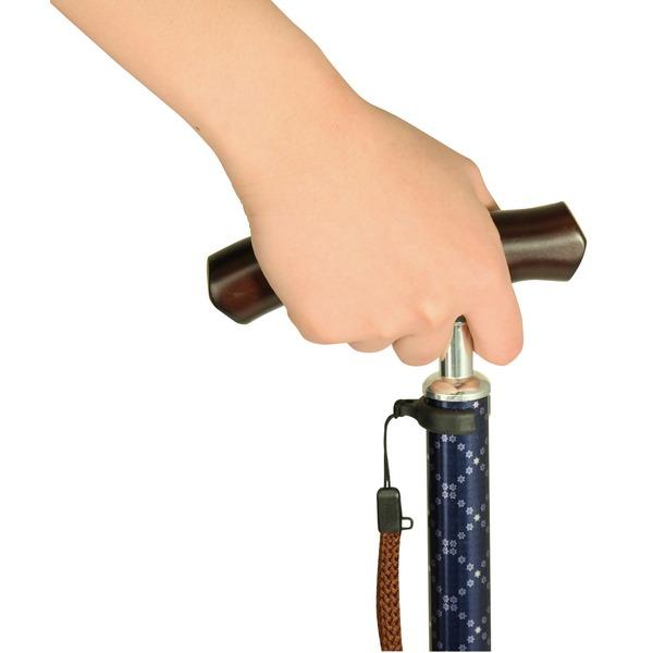 しっかり接地する大きな足ゴム テイコブ伸縮ステッキ(首細) BOLD チェッククラシックネイビー