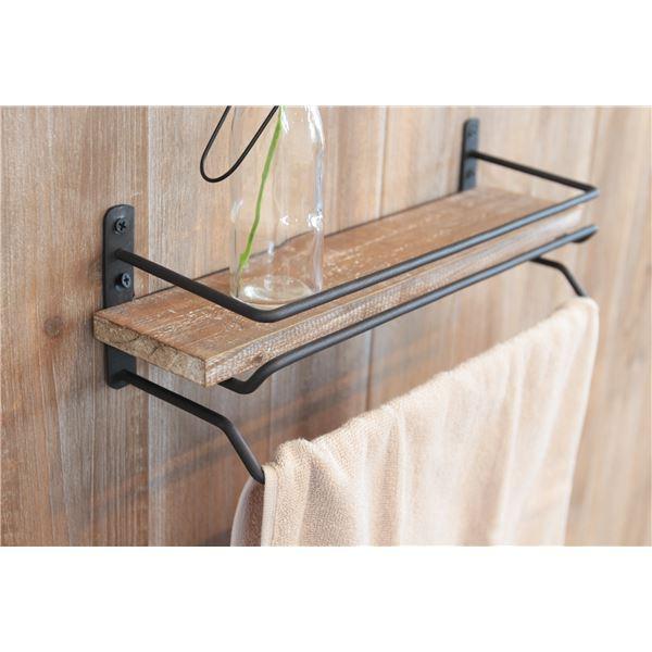 タオル掛けハンガー 木製/杉古材 スチール 幅36cm 【完成品】