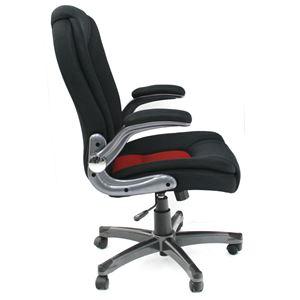 オフィスチェア(パソコンチェア/パーソナルチェア) レヴェリー 昇降式 高さ調節可 キャスター/肘付き ブラック&レッド - 拡大画像