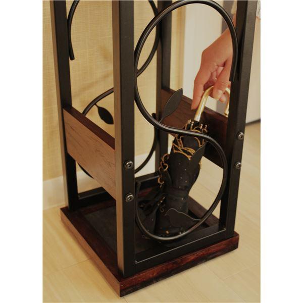 傘立て nico 【幅23cm】 木製×スチール コンパクト 受け皿付き BR/BK ブラウン×ブラック